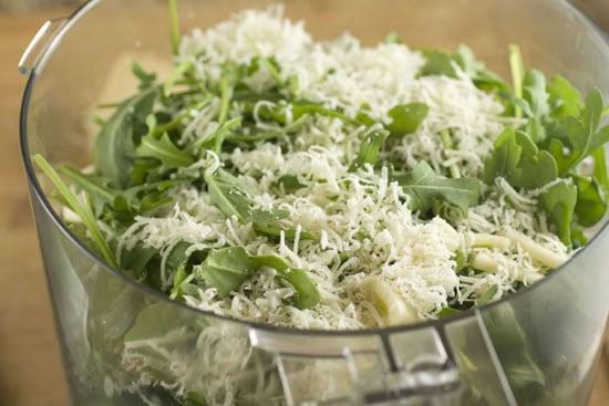 process the ingredients for Arugula Walnut Pesto