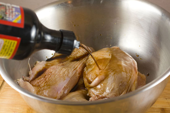 marinating chicken for Chicken Adobo