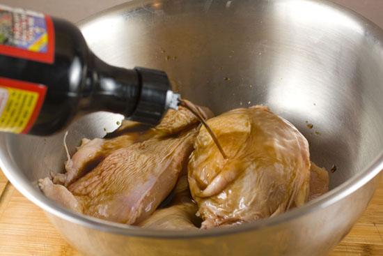 marinating chicken for Chicken Adobo