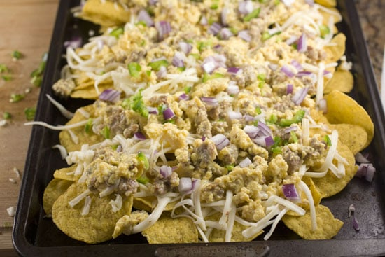tray of Breakfast Nachos ready for oven