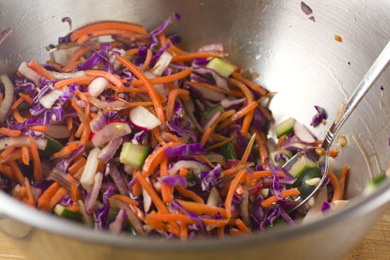 finished slaw for Grilled Tofu Wraps recipe