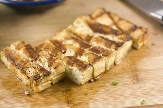 sliced tofu for Grilled Tofu Wraps