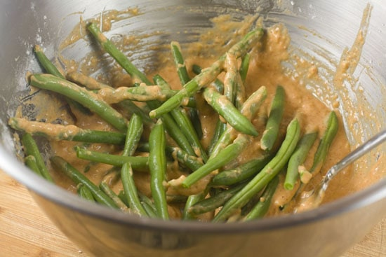 battering Fried Green Beans