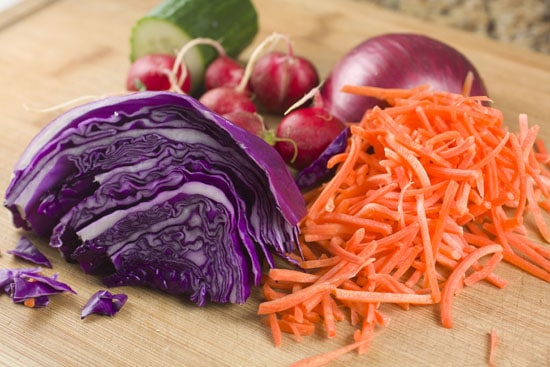 slaw ingredients for Grilled Tofu Wraps