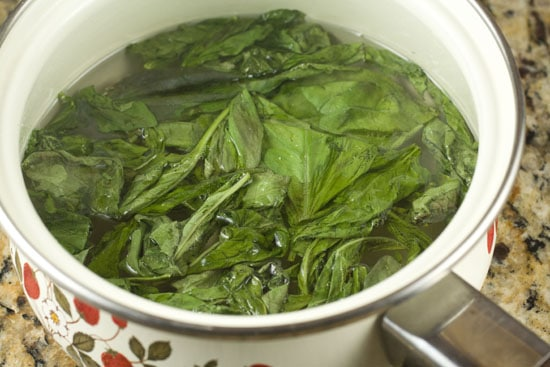 cooked basil syrup for Rickshaw Cocktail