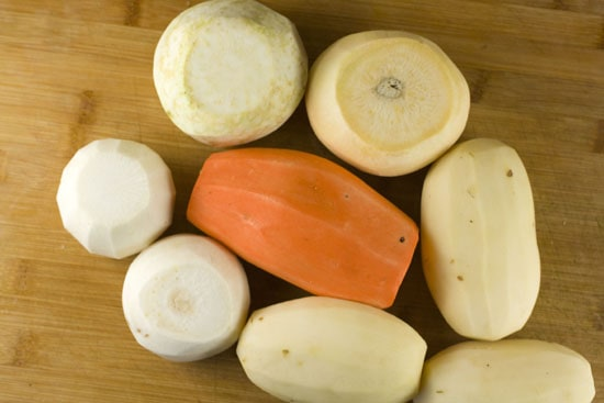peeled veggies for Root Vegetable Gratin