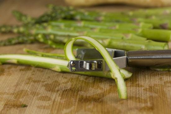 peeling veggies for Vegetable Ribbon Salad