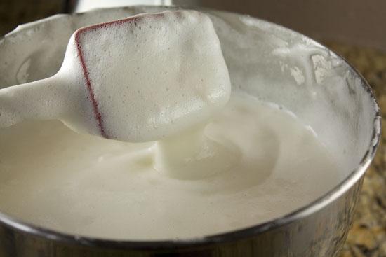 folding egg whites into Homemade Angel Food Cake batter