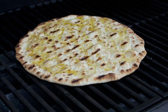 dough on the grill for Asparagus Pizza