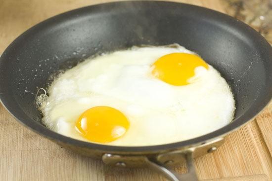 almost done eggs for Ricotta Breakfast Sandwich