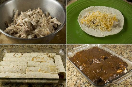 enchiladas with homemade mole sauce