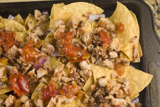 sheet pan full of Rib nachos