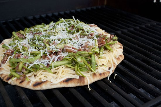 Asparagus Pizza on the grill