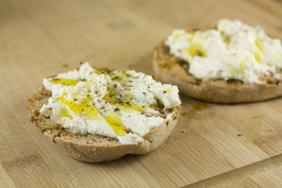 muffin ready for eggs - Ricotta Breakfast Sandwich