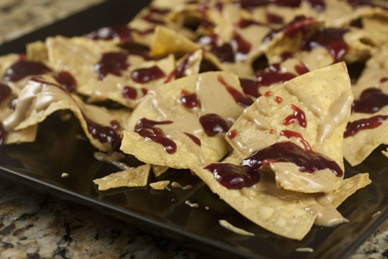 topped peanut butter jelly nachos