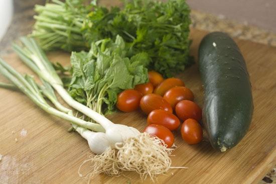 fresh veggies for Couscous Tabbouleh