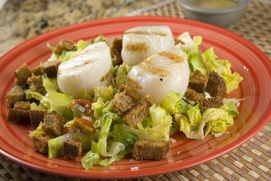 Grilled Scallop Caesar Salad - Macheesmo