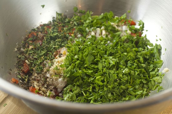 dry stuff for Chimichurri Potato Salad