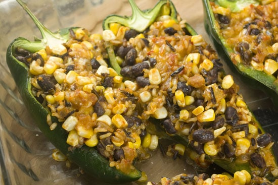 cooked Rice Stuffed Poblanos