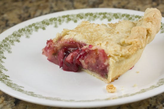Plum Rhubarb Pie recipe from Macheesmo