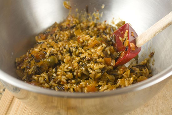 finished stuffing for Rice Stuffed Poblanos