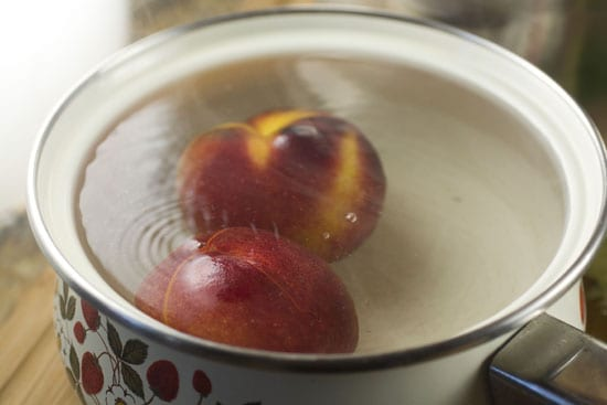 boiling for Tomatillo Peach Salsa