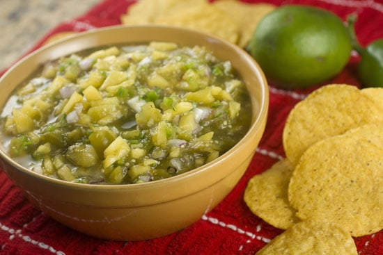 Tomatillo Peach Salsa recipe from Macheesmo