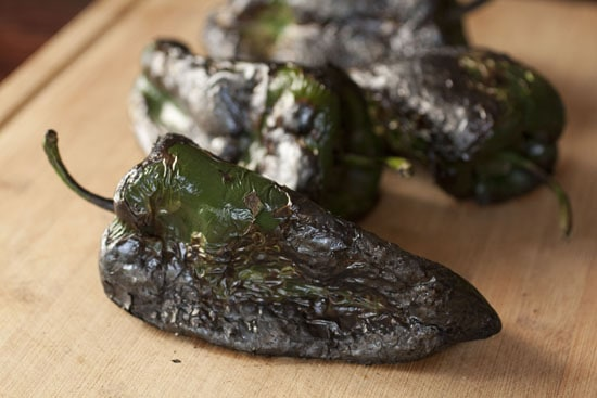 charred for Rajas Poblanas