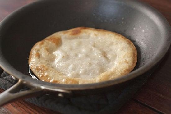 fry tortillas for Rajas Poblanas