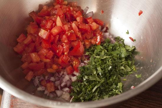 chopped for Tex Mex Quinoa