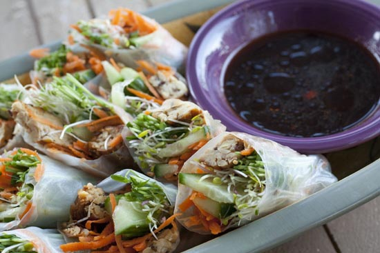 Tempeh Spring Rolls recipe from Macheesmo