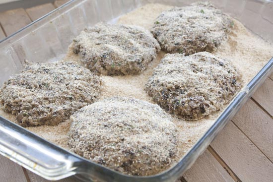Mushroom Burger patties formed