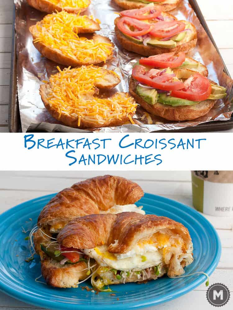 Toasted croissant breakfast sandwiches with cheese, lots of veggies, and over-easy eggs! Croissant Sandwich Recipe ~ Macheesmo