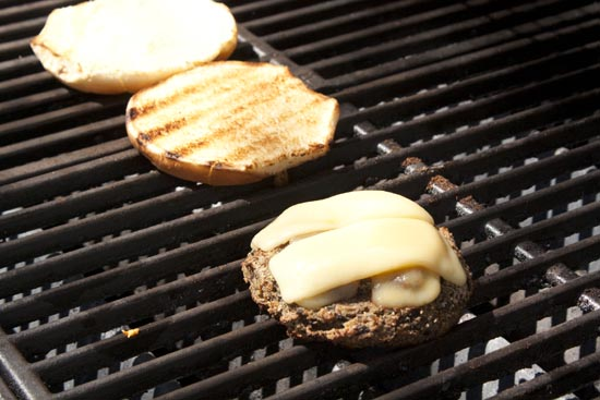 Mushroom Burger on the grill.