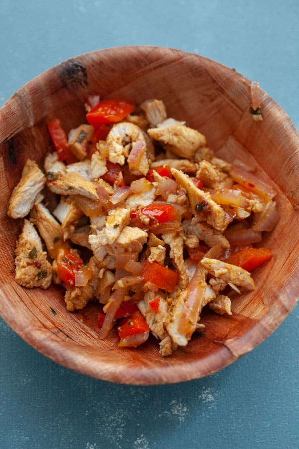 Chopped up Filling - Chicken Fajita Nachos