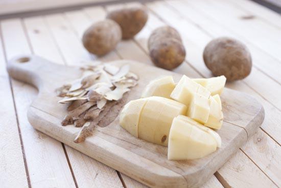 peeled potatoes for papas rellenas
