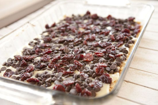 cherry topping on Chocolate Cherry Bars