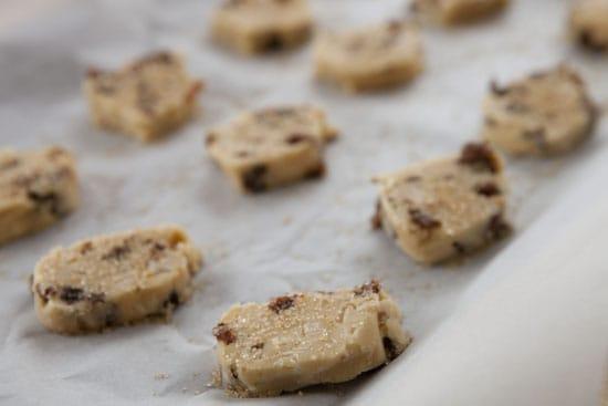 cut the dough for Rum Raisin Cookies