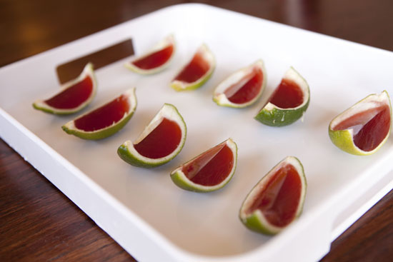 sliced Cherry Lime Jello Shots from Macheesmo