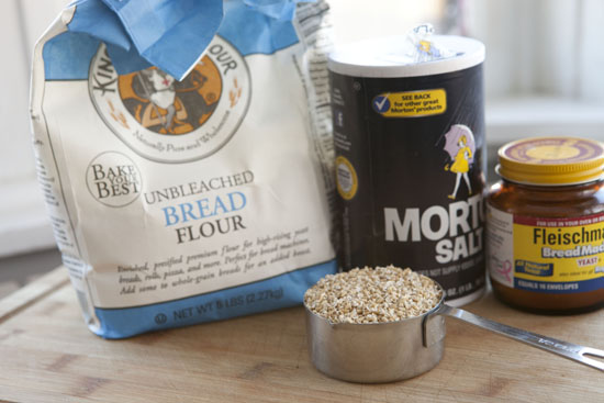 ingredients for Oat No Knead Bread