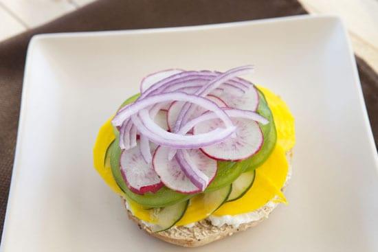 Vegetarian Bagel Sandwich from Macheesmo
