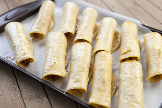 Rolled homemade taquitos