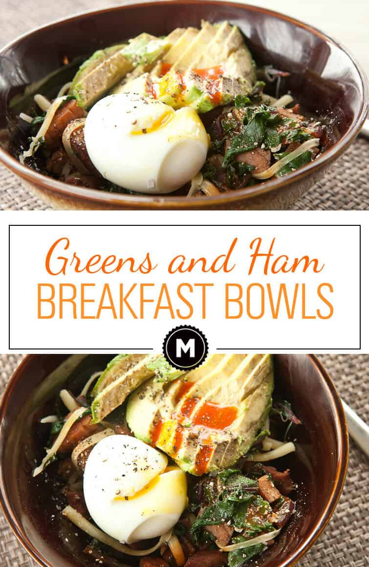 Ham Breakfast Bowl - Simple and warming sauteed greens and ham breakfast bowls with perfect soft-boiled eggs!