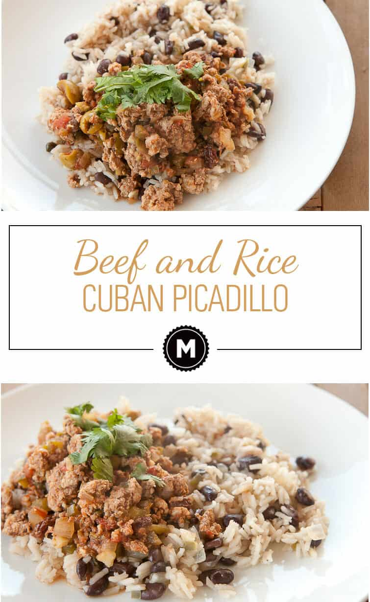 Classic Cuban Picadillo with ground beef and spices served over rice and black beans. A hearty plate of food to warm the soul!