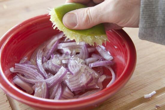onions for Chorizo Tacos