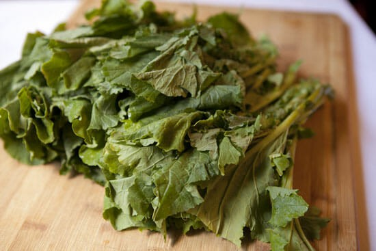 Broccoli Rabe Sausage Pasta - the greens