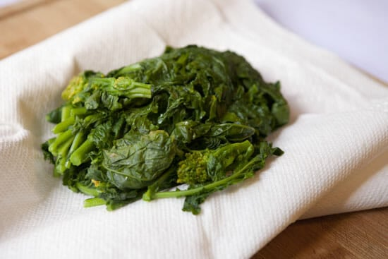 blanched greens for Broccoli Rabe Sausage Pasta