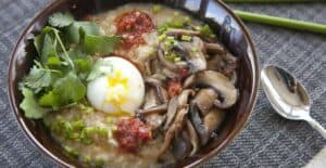 Vegetarian Congee: My favorite savory breakfast porridge that's gluten free and a great use for leftover rice. Top with a huge range of things, but don't forget the soft-boiled egg!