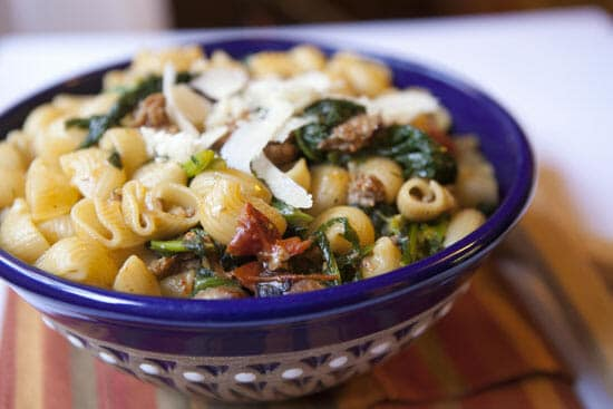 plated Broccoli Rabe Sausage Pasta - Macheesmo