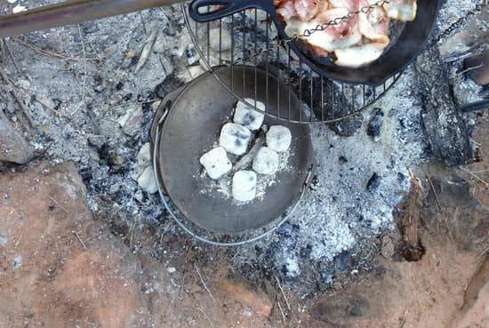 baking Campfire Cinnamon Rolls